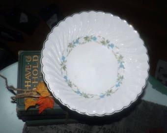Mid-century (1950s) Johnson Brothers JB482 vegetable serving bowl. Blue morning glories, greenery, platinum edge. Snowhite Regency ironstone