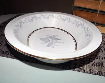 Mid-century (1950s) Northumbria AG Morning Mist pattern rimmed oval vegetable | serving bowl. Blue, grey flowers, leaves, smooth gold edge