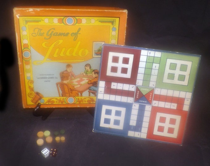 Antique (early 1920s) Ludo board game. Made and published in Canada by Canada Games. Incomplete (see below)