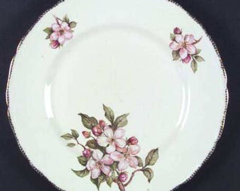 Quite vintage (1930s) Royal Swan Blossomtime dinner plate. Pink blossoms, broad 22-karat brushed gold embossed edge.