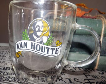 Vintage (mid 1990s) Van Houtte plastic coffee mug | cup.  Color Van Houtte image and logo, insulated plastic.