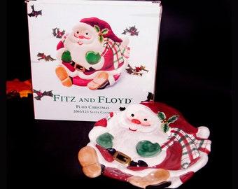 Fitz & Floyd Plaid Christmas figural Santa Claus Christmas canape plate | candy dish | nut dish. Christmas tableware. Original box