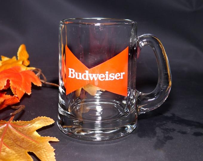 Vintage (1980s) Budweiser red logo heavy half-pint beer stein. Great man gift | home bar item.