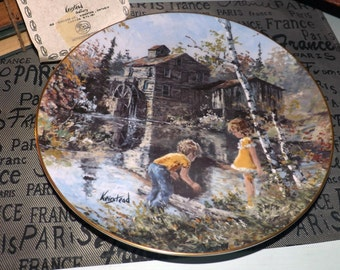 Vintage (1983) Hutschenreuther Germany limited edition, signed, numbered Keirstead collector plate entitled Do They Bite. Gold edge. COA.