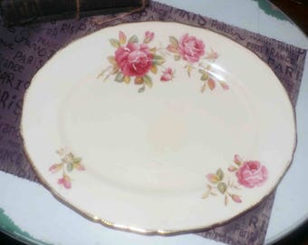 Early mid-century (1940s) Royal Swan RSN1 oval vegetable platter.  Pink rose blooms, 18K scalloped gold edge.