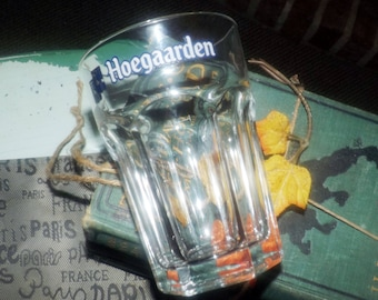 Vintage (1980s) Hoegaarden Belgian beer 25 cl pint glass. Etched-glass artwork, heavy glass.
