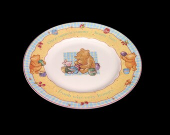Vintage Royal Doulton Disney Winnie the Pooh Collection baby Christening plate. Pooh is Very Hungry. Flaw (see below).