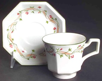 Vintage (1980s) Johnson Brothers Eternal Beau cup and saucer set made in England. Sets sold individually.