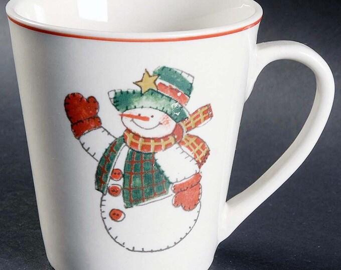 Vintage (1990) Christmas CX733 stoneware coffee | tea mug. Folk-art snowman in center. Christmas tableware.