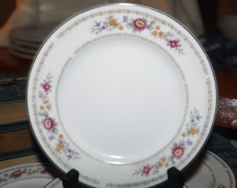 Vintage (1980s) Royal Sealy Fantasy bread-and-butter, dessert, or side plate. Multicolor | pink flowers, platinum edge. Made in Japan.