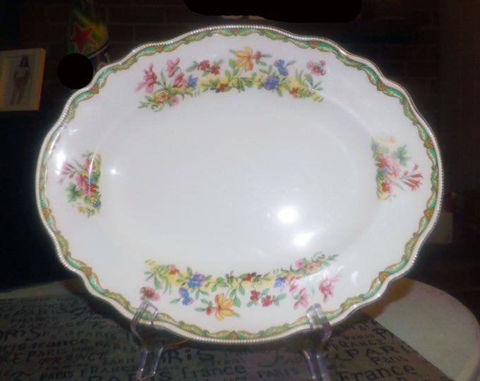Almost antique (1920s) Johnson Brothers Meadowsweet hand-decorated vegetable platter. Florals, art deco border. Old Staffordshire ironstone.