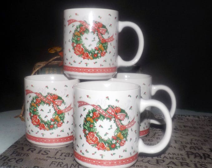 Set of four Himark Christmas mugs with box. Victorian Christmas wreath, red ribbons. Unused.