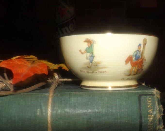 Early mid-century Royal Winton Grimwades Old English Markets open sugar bowl. Tudor-era English village life.