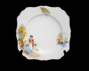 Early mid-century J&G Meakin Dubarry square cake or cookie serving plate. Napoleonic-era scene, Made in England. Flaws (see below).
