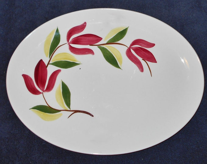 Mid-century (1950s) Stetson USA Elizabethan Spray pattern oval vegetable platter.  Hand-painted red florals and greenery.