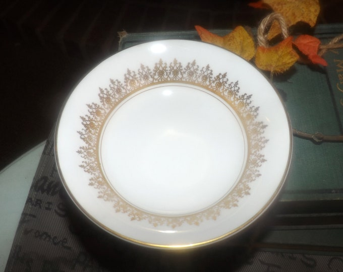 Pair of late mid-century (late 1950s - early 1960s) Myott Tiffany fruit nappies | dessert bowls. Gold filigree, edge on white. China-lyke.