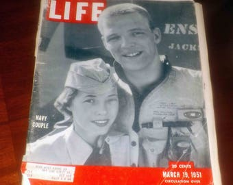 Mid-century (March 19, 1951) Life Magazine. Navy couple on cover. Great mid-century car ads.