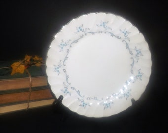 Mid-century (1950s)  Myott Trousseau dinner plate. Blue-grey flowers and swirls, platinum | silver edge.