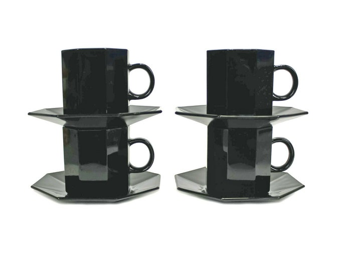 Vintage Arcoroc | Arcopal | Luminarc Octime Black cup and saucer sets or saucer made in France.
