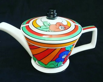 Vintage (1980s) Past Times Collection Clarice Cliff Bizarre Ware art-deco tea-for-two | personal teapot with lid made in England.