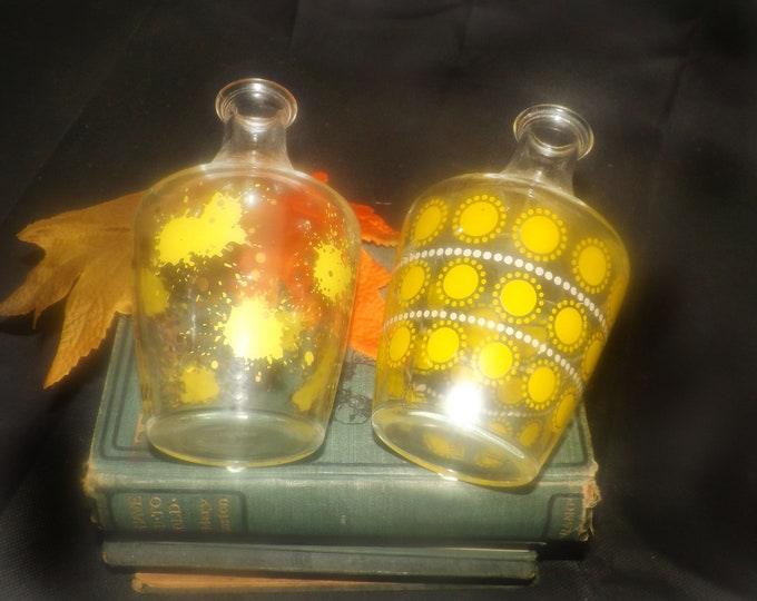 Pair of mid-century French glass decanters | carafes. Yellow dots and splotches. Made in France. Mid-century home bar.