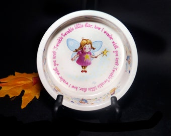 Vintage (1990s) Anderton Pottery Child   Baby rimmed cereal or oatmeal bowl. Twinkle, Twinkle Little Star. Great baby gift, baby shower item