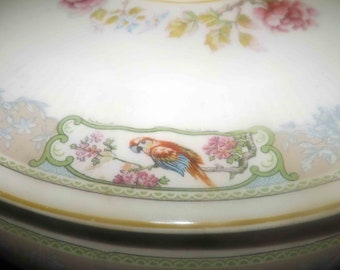 Almost antique (mid 1920s) Myott & Son | Myott Windermere covered, handled vegetable serving bowl | tureen. Hand-decorated parrots, flowers.
