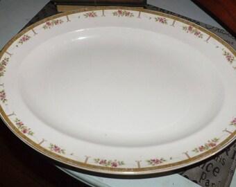 Antique (1913) Johnson Brothers JB167 | JB 167 oval turkey | large serving platter. Pink flowers, art-nouveau border, gold edge,