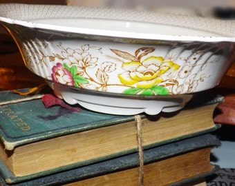 Early mid-century (1940s) Myott Swing Time hand-decorated, double-handled rimmed vegetable serving bowl. Multicolor florals, scalloped edge.