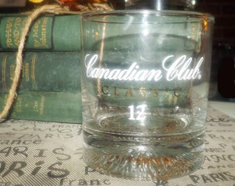 Vintage (1990) Canadian Club Classic weighted-base, etched-glass logo lo-ball, whisky or on-the-rocks glass.  Commercial quality.