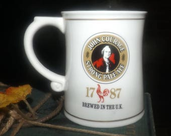 Vintage (1981) Franklin Mint mini tankard commemorating England's John Courage Brewery. Tankards of World's Great Breweries series. Flawed.