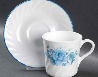 Vintage (1997) Corelle Blue Velvet tea set (flat cup with matching saucer). Blue roses. Made in USA.