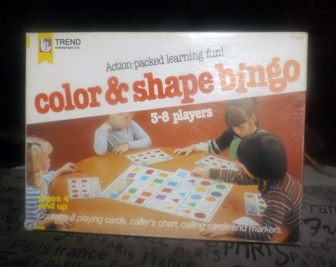 Vintage (1984) Color & Shape bingo board game by Trend.  Made in USA.  Complete.  Great learning game for young kids.