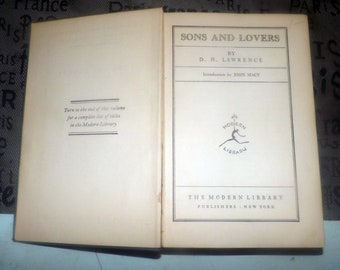 Almost antique (1922) hardcover book Sons and Lovers by D.H. Lawrence. Embossed cloth covers, Modern Library NY.