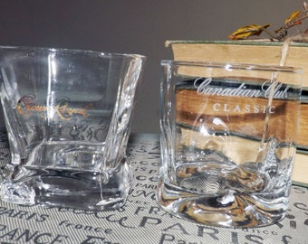 Pair of vintage commercial-quality glasses 1 squared Crown Royal whisky and 1 Canadian Club Classic lo-ball. Etched wording, weighted bases.