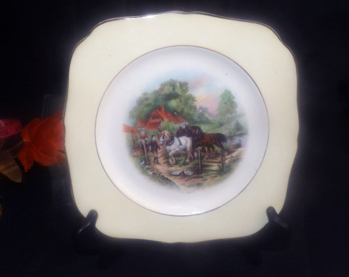 Early mid-century (1940s) Hollinshead & Kirkham   HK Tunstall 2629 pattern square plate. Horses and cottage scene. England.