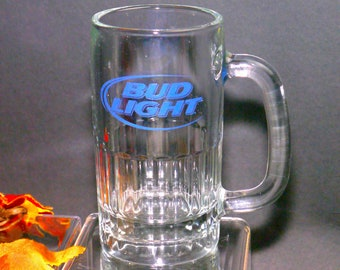 Vintage (1980s) Bud Light heavy 1L beer pint glass. Etched-glass branding in blue. Great man gift.