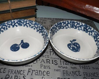 Pair of vintage (1980s) Tienshan Fruits Blue pattern Folk Craft stoneware cereal | soup | salad bowls. One each of apple & cherries.