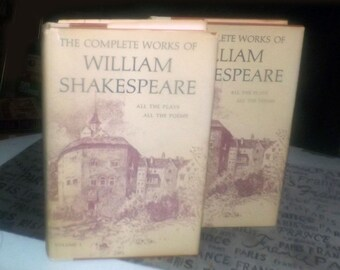Vintage (1987) 2-volume hardcover book set The Complete Works of William Shakespeare. Nelson Doubleday Book Club edition. Printed USA.