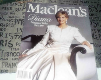 Vintage (September 8, 1997) Macleans magazine cover story Princess Diana. Article on INCO Voisey Bay Nickle project.