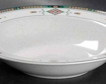 Vintage (mid 1990s) Studio Nova Adirondack Y2201 pattern rimmed cereal, soup, or salad bowl. Multicolor Aztec pattern, green border band.