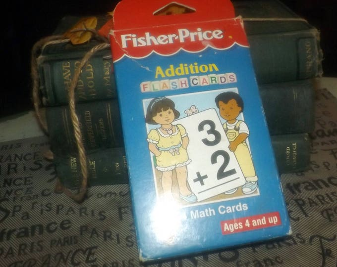 Deck of 56 vintage (1998) Fisher Price Math Cards with original box focused on addition problems.  Large, clear typeface. Original box.