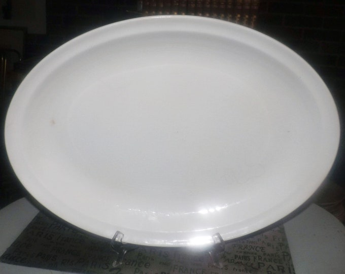 Antique (1910s) Johnson Brothers England all-white large, rimmed, oval turkey or meat platter.