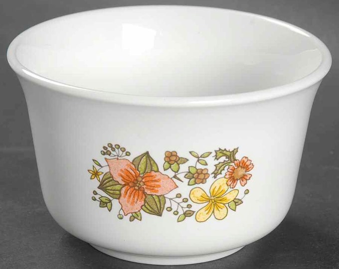 Vintage (1970s) Corelle Indian Summer creamer and open sugar bowl set. Made in USA.