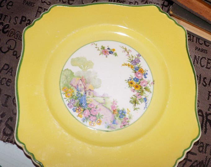 Early mid-century (1940s) Royal Winton Grimwades Selworthy Cottage squared cookie | cake plate. Broad yellow verge, garden cottage green rim