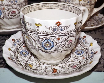 Quite vintage (1930s) Copeland Spode Florence art-deco style tea set (flat cup with saucer).