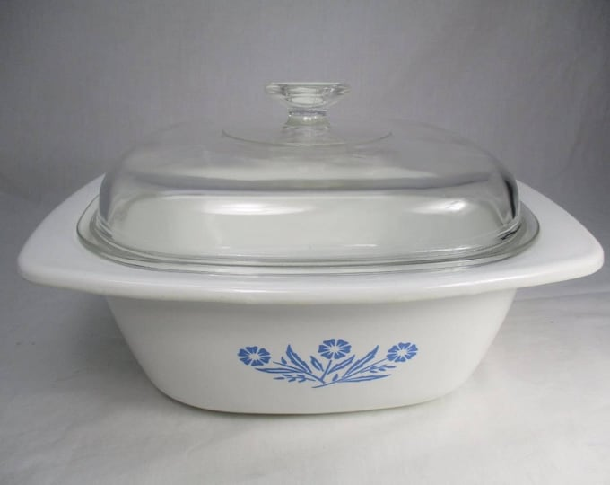 Vintage (1970s) Corningware | Corning Canada P34-B HUGE! 4-quart Blue Cornflower Dutch Oven with original domed glass lid. Made in Canada.