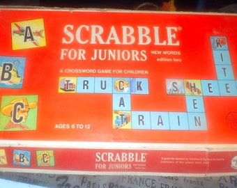 Vintage (1964) Scrabble for Juniors board game. Published by Selchow & Righter.  Made in USA. Incomplete (see details below)..