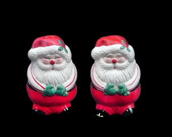 Vintage (1980s) Santa Claus salt and pepper shakers. Hand painted, made in Japan. Original box included.