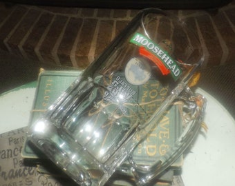 Vintage Moosehead Lager Buffalo Wild Wings football half-time glass stein. Etched-glass branding, very heavy.
